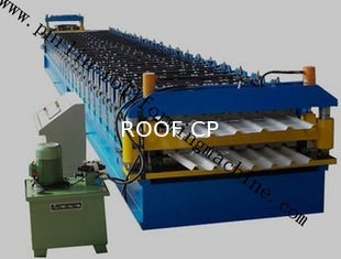 Color Coated Roof Panel Roll Forming Machine , Roof Tile Forming Machine For Metal Sheet