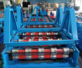 China Glazed Roof Panel Roll Forming Machine , Cold Forming Machine Panasonic PLC Control distributor